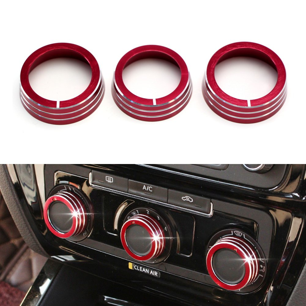 iJDMTOY 3pcs Red Anodized Aluminum AC Climate Control Ring Knob Covers For Volkswagen MK6 Golf GTI Jetta