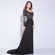 Sexy Women Black Evening Dresses China With Lace Long Sleeve Gown