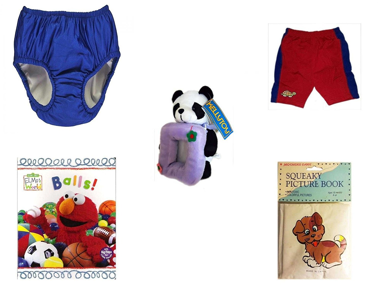 Children's Gift Bundle - Ages 0-2 [5 Piece] - Dan Dee My First Christmas Baby Bear Infant Booties Size 1-2 - Circo Infant Girls Swim Bikini Top Pink Butterfly Size XL 24 Months 25-30 lbs - Gund Baby