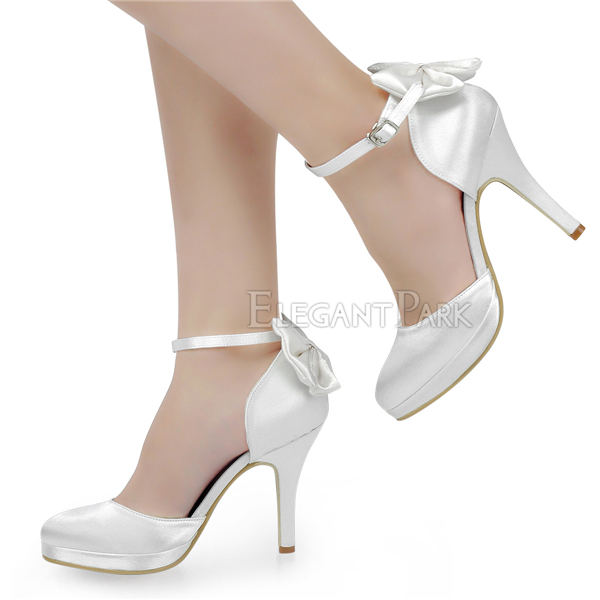 "Free shipping AJ091-PF Women Evening Party Round Toe Ankle Strap Satin Bow 4"" Heel Platform Wedding Bridal Shoes US3-11"