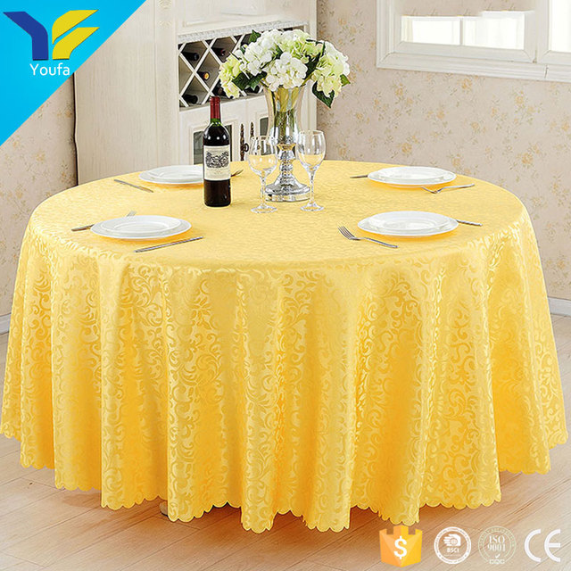 Table Linen Wedding Golden 120 Round Polyester Jacquard Table Cover Table  Cloth Factory