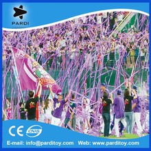 Round paper frisbee confetti, party throwing crepe paper streamer