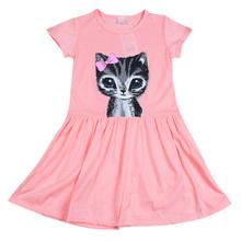 Infantil Criança Meninas T Shirt Crianças Vestido de Verão Vestido da Cópia Do Gato Princesa de Festa Vestido de Verão
