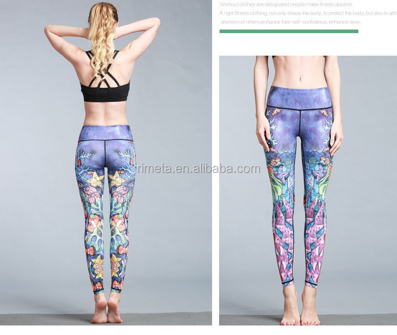 2019 fashion printing marine animal breathable  yoga pants leggings for women