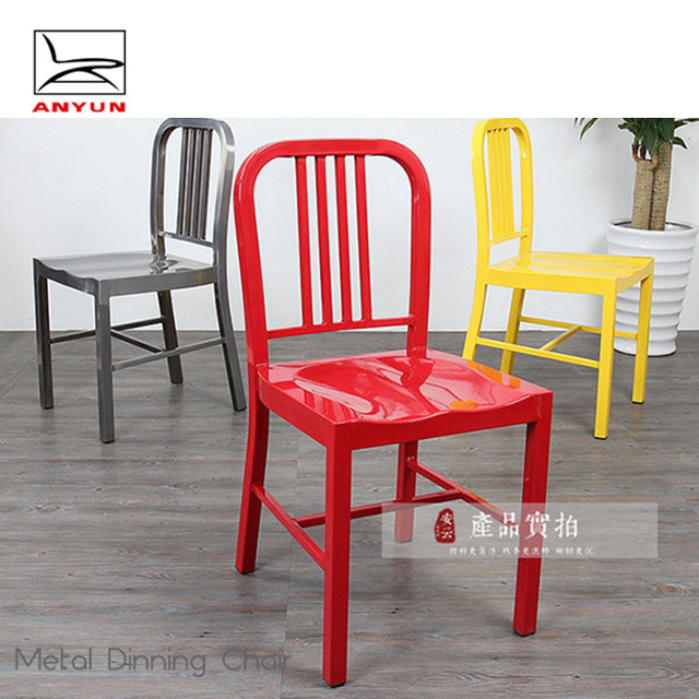 wholesale beautiful metal furniture navy chair with high back