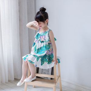 2018fashion Shoulder Printed Cotton Skirt for girl