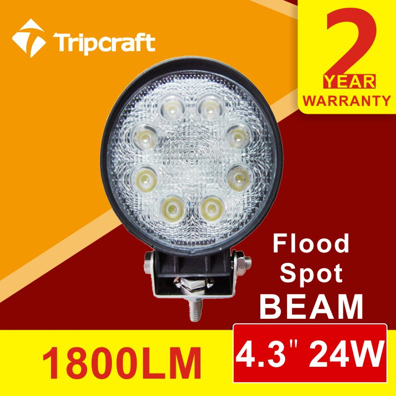 Factory direct 12v led tractor work light 24w 4 inch round led driving light with cheap price