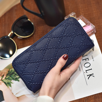 3155 PU leather long clutch wallet women with zippered compartment