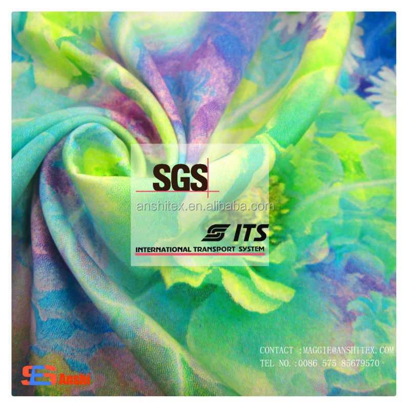 Custom design Polyester satin chiffon digital printed fabric for top, underwear, dress fabric