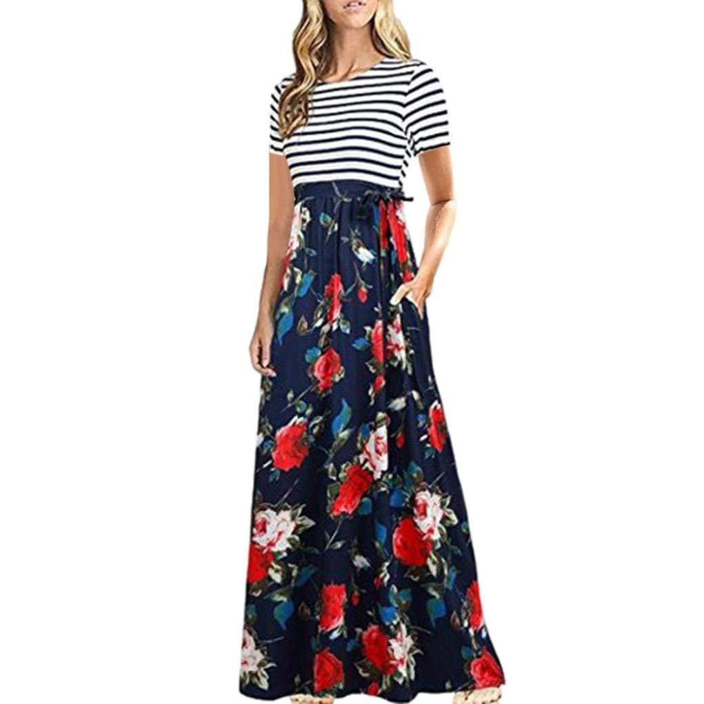 18305264c58 Paymenow Women Striped Floral Print Long Dress Casual Beach Daily Short  Sleeve Summer Maxi Dress