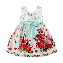 2017 baby girl ball gown fashion party children frocks designs yarn condole roses flower princess dresses