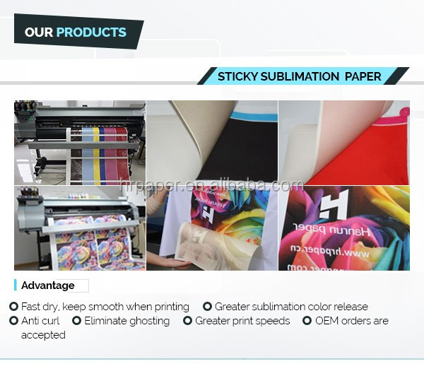 70/80/90/100gsm 36''/44''/64'' Full Sticky High Tacky Dye Sublimation Transfer Paper Roll For Garment