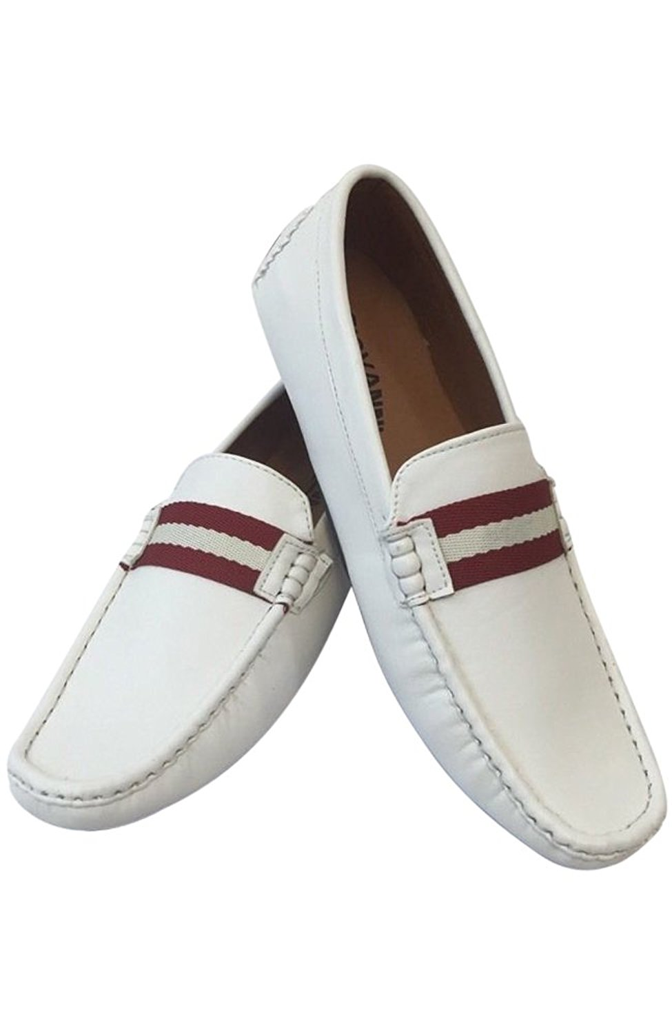 Mens Giovanni Loafer Dress Shoes Italian Style Slip On Solid White with White Stitching 9511