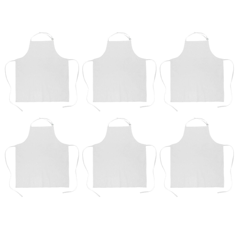 DII 100% Cotton, Commercial Bib Chef Apron, Restaurant, Bistro, Coffee shop, Bar Waitress Waiter Uniform, Durable, Easy Care, Adjustable Neck & Waist Ties, Set of 6-White