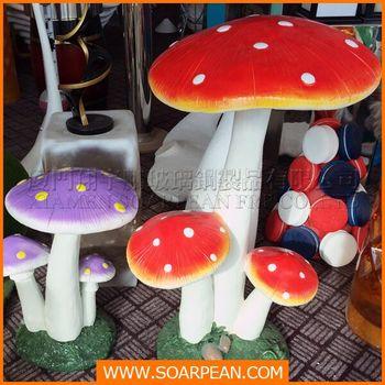 Shop Window Display Garden Custom Decorative Fiberglass Mushroom