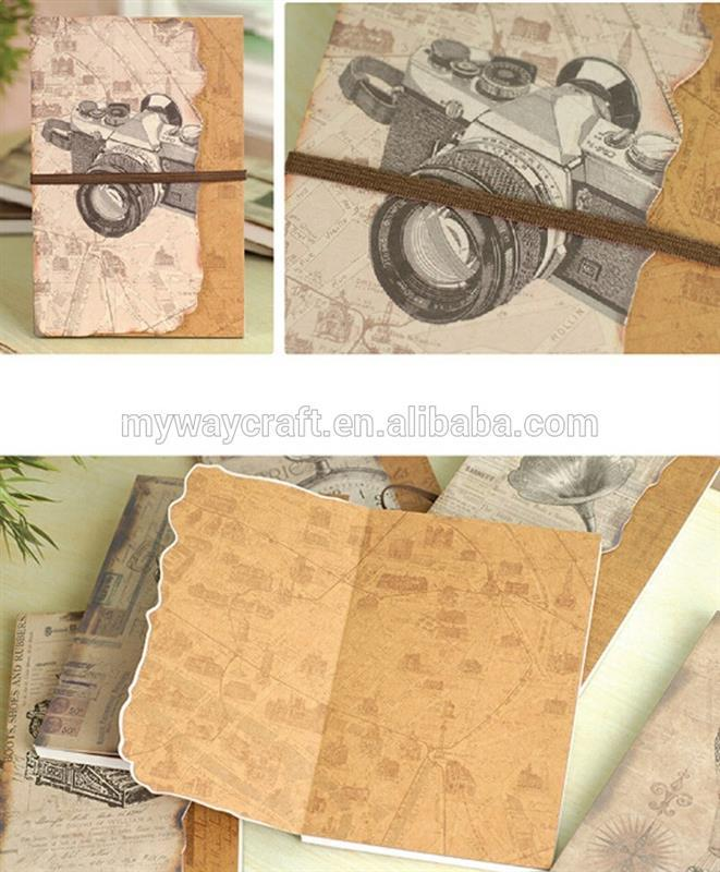 kraft paper die cut cover perfect binding recycle notebook with elastic band