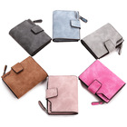 Women's short wallet candy color button wallet multi-card female coin purse frosted zipper bag