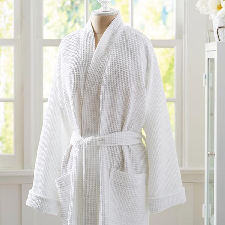 โรงแรมผ้าลินินโรงงานขายส่งโรงแรมวาฟเฟิลเสื้อคลุมอาบน้ำผ้าฝ้าย100% สำหรับสปารีสอร์ท