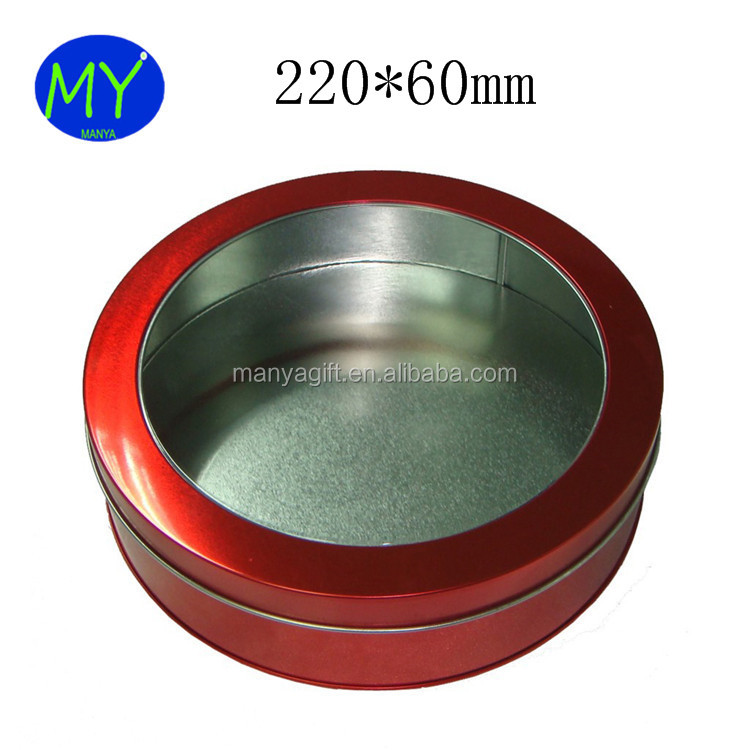 Big Size Round PVC PET Metal Box For Cosmetics Candy Packing