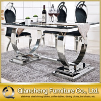 Tempered glass dining table and chairs modern kitchen glass table
