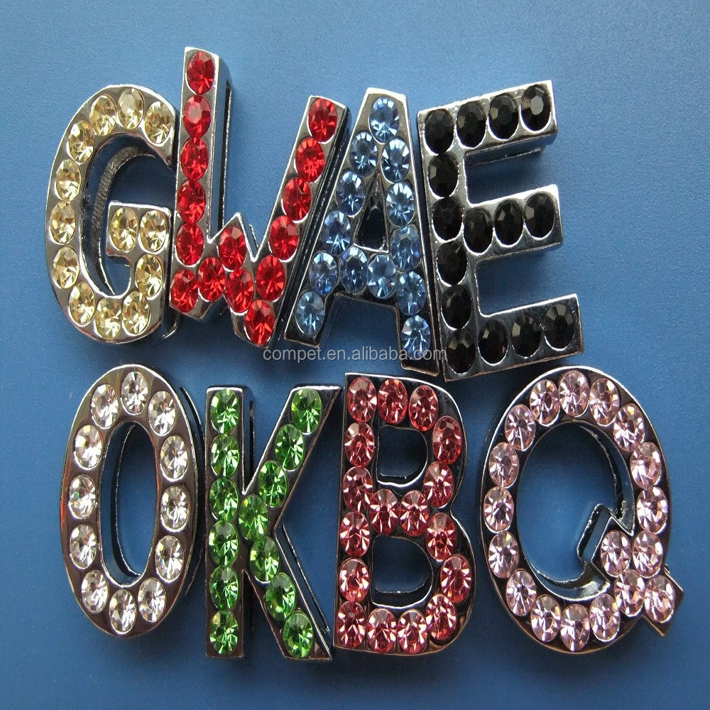 Wholesale Colorful Diamonds Metal Jewelry Zinc Alloy 18mm Rhinestone Slide Letters