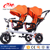 360 rotating double seats OEM Kids Twin Tricycle / Children Pedal Cars Trike with wagon / baby tricycle manufacturer in China