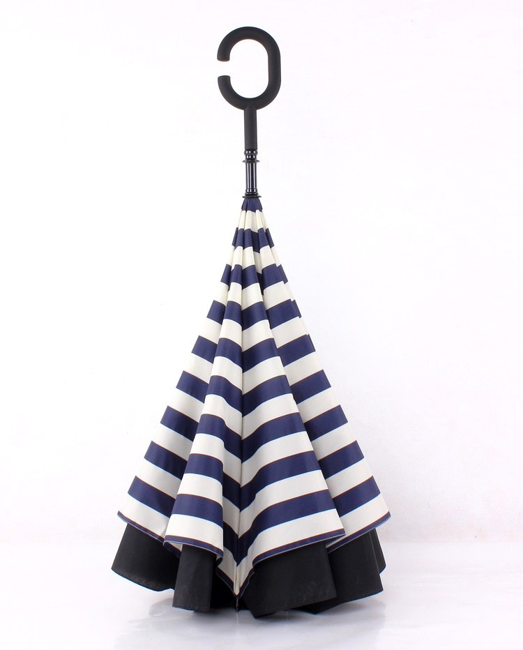 C Stripe Navy Inverted Waterproof J Shape Umbrellas Handle AAtaBq