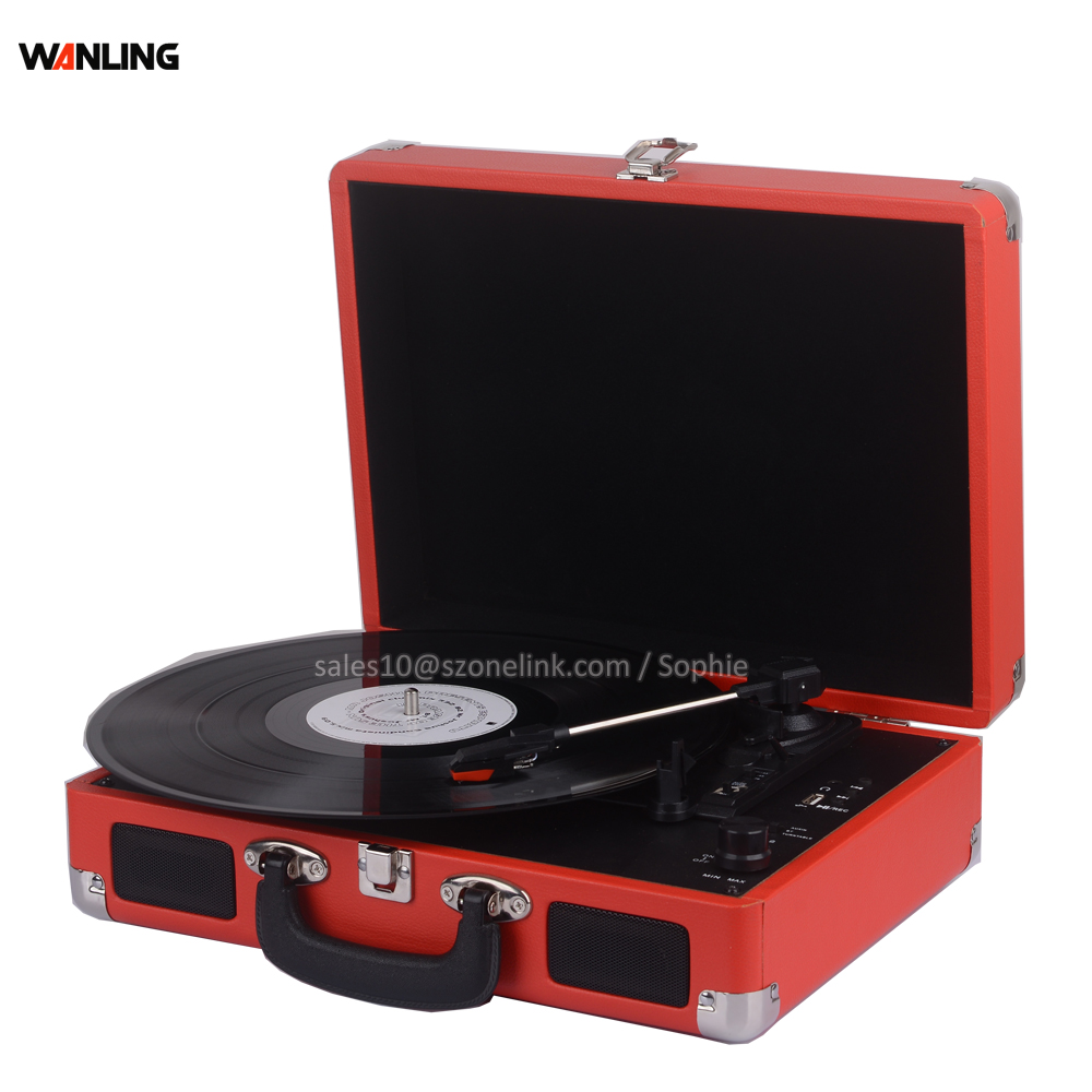 Antik Mini Turntable Bavul Vinil Kayıt Oyuncu Jukebox
