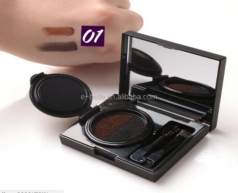 2017 new fashion makeup waterproof 2 color air cushion eyebrow with 2 brush mirror