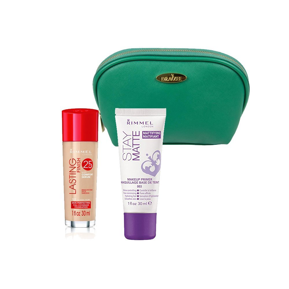 Two Piece Rimmel Kit with Rimmel Long Lasting Coverage Foundation (Ivory, 1 Oz), Stay Matte Primer (1 Oz) with Sea Green Draizee Leather Cosmetic Bag