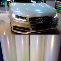 Color changing air release white glitter car wrap sticker high quality chameleon vinyl film roll with self adhesive