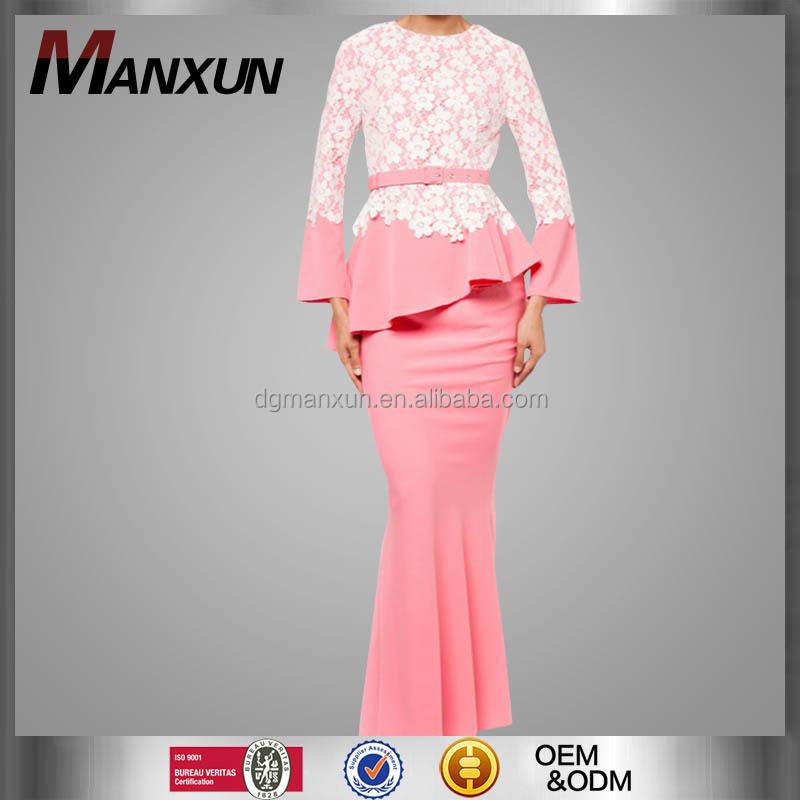 Modern Baju Kebaya Dubai Design Lace Pink Malaysia Baju Kurung Long Sleeve Dresses For Muslim Women Buy Modern Baju Kebaya Baju Kurung Long Sleeve