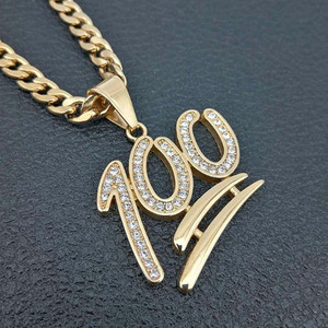 Meise jewelry Hip Hop Jewelry 316 Stainless Steel Gold Plated Diamond 100 Pendant