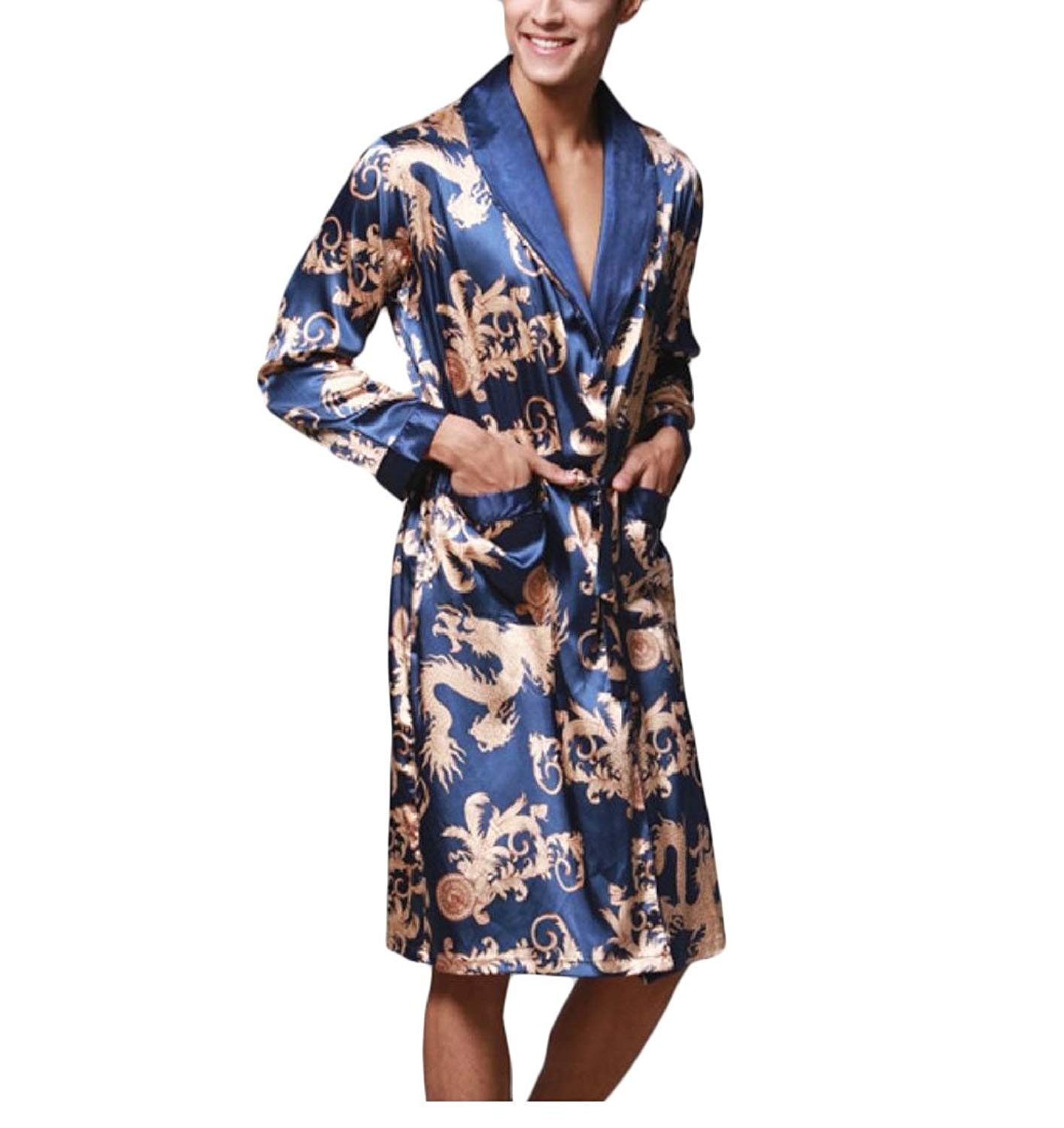 3a6ea62e51 Vska Men s Dragon Floral Print Pajamas Silk Bathrobe Long Sleeve Nightgown