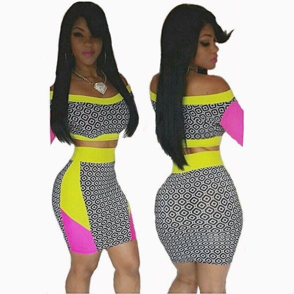 d5d1ccc24d4 Get Quotations · 2015 summer sexy 2 piece set women skirt crop top bodycon  dress white black dot print