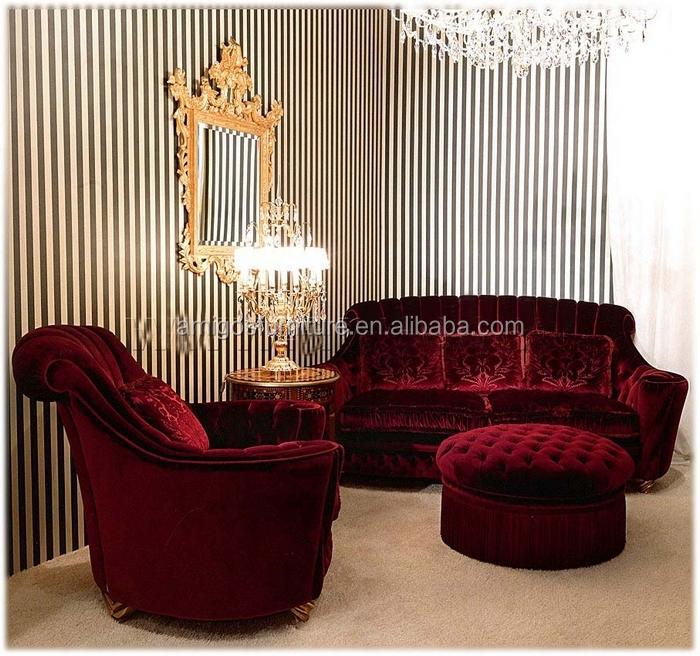 Antique Reproduction Furniture Wholesale Red Velvet Sofa