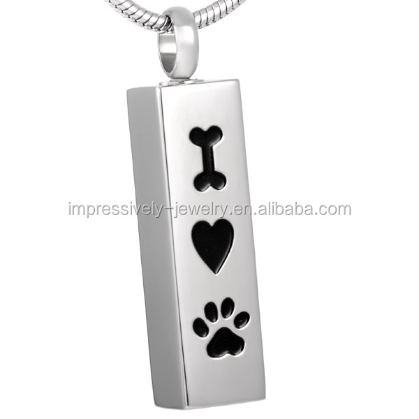 IJD8001 I Love My Pet Stainless Steel Cremation urn necklace to hold ashes