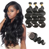 Lsy Wholesale Virgin Brazilian Hair Weave Vendors, 100% Brazilian Human Hair Grade 9A Virgin Hair Extension Bundles With Closure