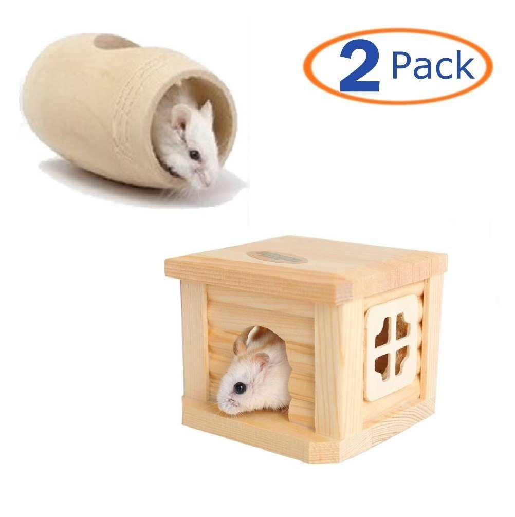 Hamiledyi Hamster Toys Wood Hamster House Cask Chew Toy for Pet,House Decor for Mouse and Dwarf Hamster Mice Playground