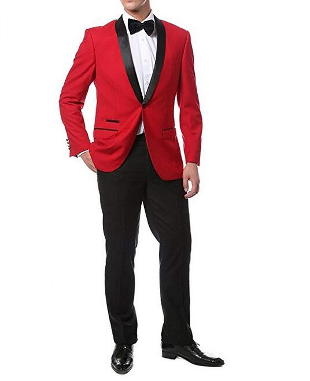 cd50573bcf67a Get Quotations · Men Suits Slim Fit BOwith Mens 2pc Slim Fit Shawl Tuxedo (  Jacket+Pant )