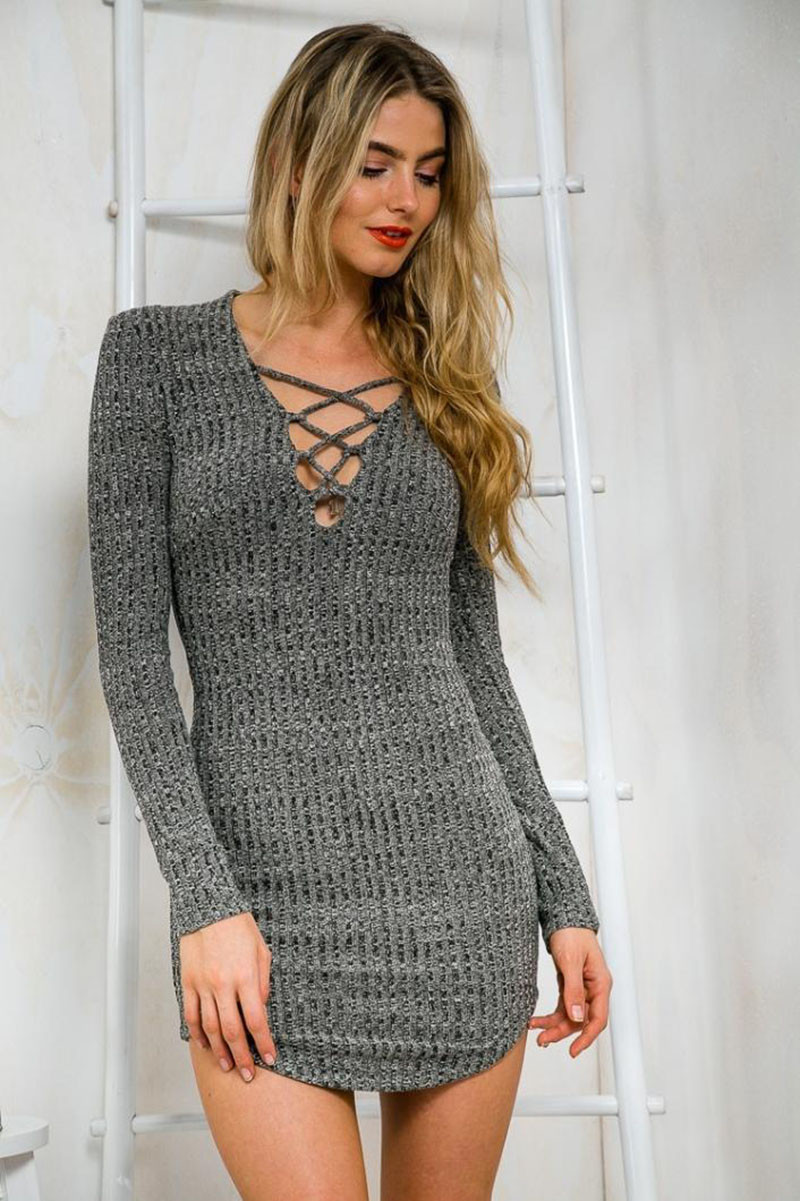 14dc946bbb25c Colysmo Women Long Sleeve Autumn Fall Knitted Pencil Dress Sexy Lace Up Mni  Dress Spring Bodycon Vestidos Bandage Dresses New