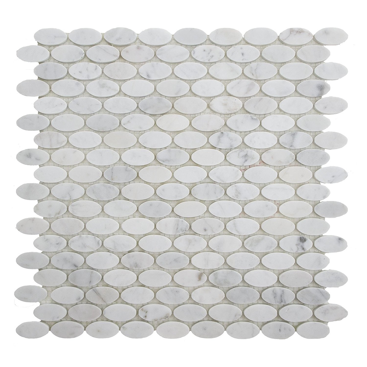 "Carrara White Marble Mosaic Tile, CWMM54OVL-H, 1-1/4""X5/8"" Oval, 12""X11-1/2""X3/8"", Honed (Sample (4""X3-1/2""))"