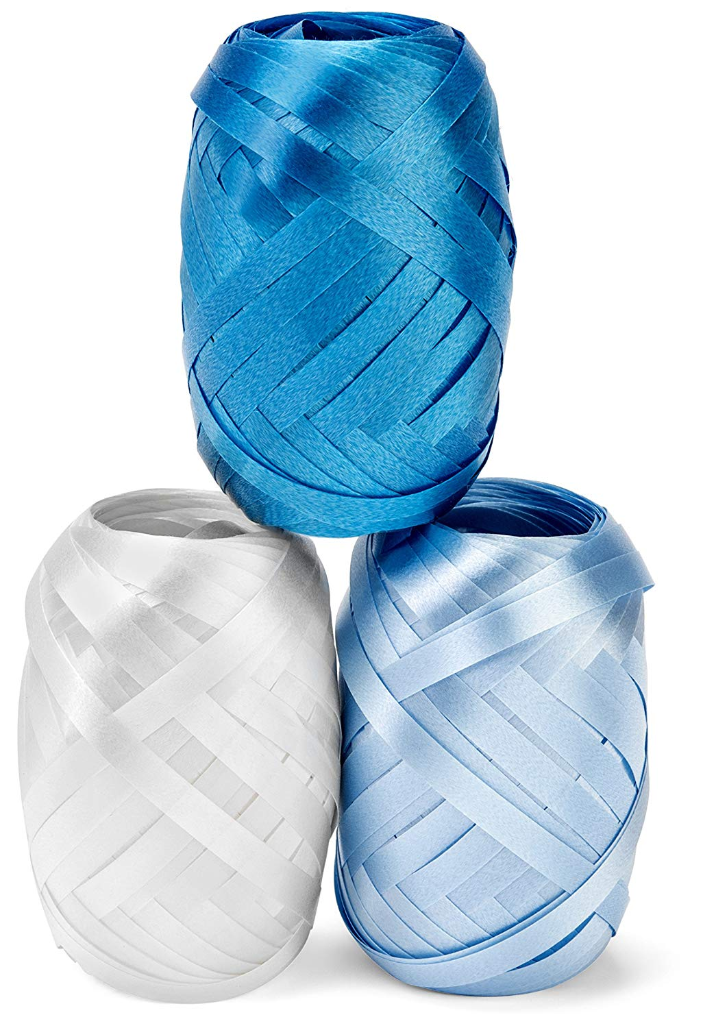 Curling Ribbon Three Assorted Colors: 3/16 Inch x 22 Yard - 60 Total Meters - Extra Long Powder Blue, Baby Blue, White Ribbon Egg 3 Pack in Storage Organizer for Decorative Gift Wrapping & Balloons