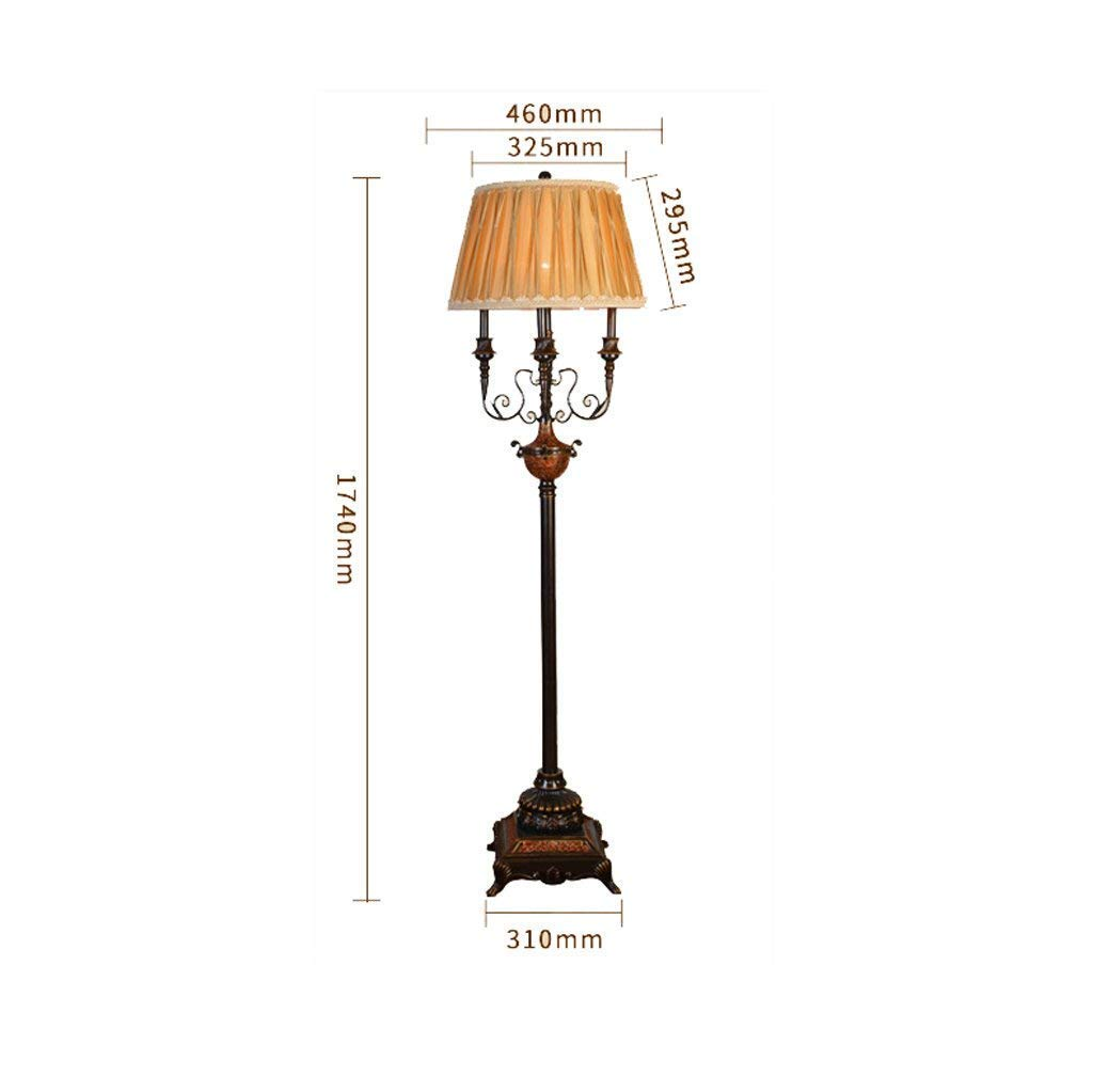DEED Floor Lamp-Led Creative American Style Carved Iron Floor Lamp European Style Candle Crystal Floor Lamp Black Art Industrial Wind Hotel Lights Eye Protection Vertical Table Lamp
