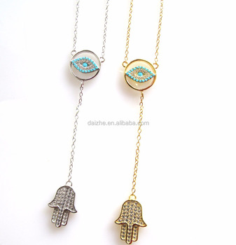 Cz Charms Evil Eye Fatima Hamsa Hand Y Shape Women Chain Glass