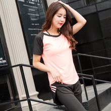 Women professional yoga shirts top fitness running gym sports t shirt 2018 jogging exercises tops