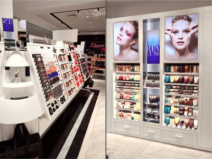 Cosmetics retail shop fitting wooden gondola and wall unit design for cosmetics display