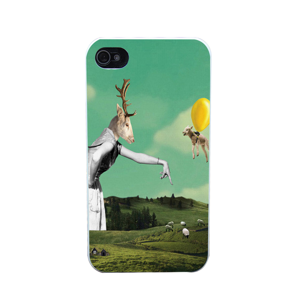 1900O Sheep And Balloon Style Phone Case Shell Hard White Case Cover for iPhone 4 5 6 s plus