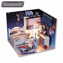 Mini cute DIY wooden toy house diy craft dollhouse for kids