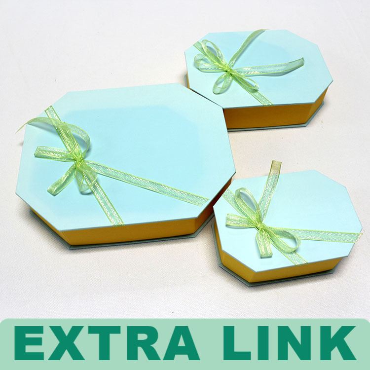 Wholesale High Quality Ribbon Deco Hexagonal Paper Bow Tie Box With Lid